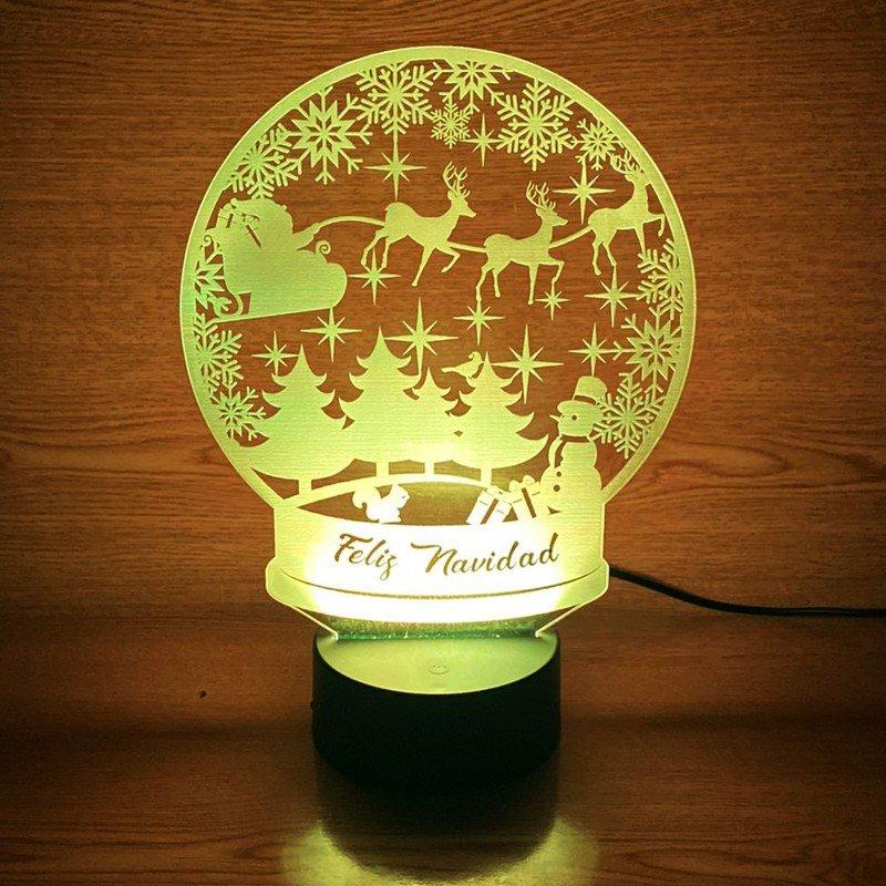 Lámpara 3d Personalizada Navidad Lámpara Led Navidad Holografía