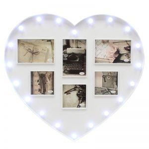 portafotos corazón con led
