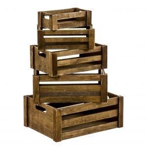 juego 5 cajas de madera marrón