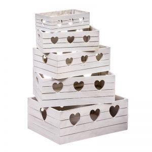 juego 5 cajas madera con corazones