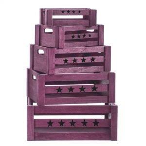 juego 5 cajas de madera lila