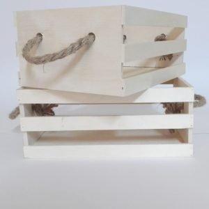 set 2 cajas de madera natural