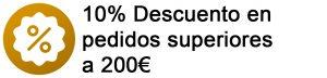10% DTO en pedidos sup. 200€