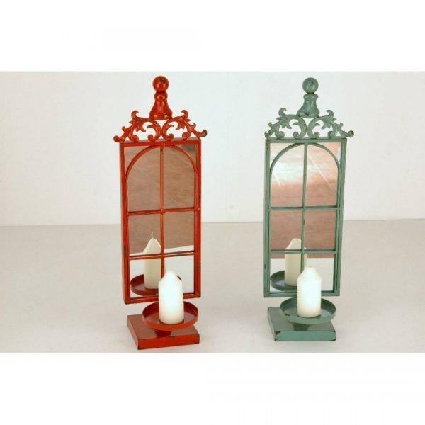 candelabros metálicos con espejo