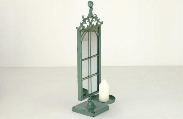 candelabro metal con espejo verde