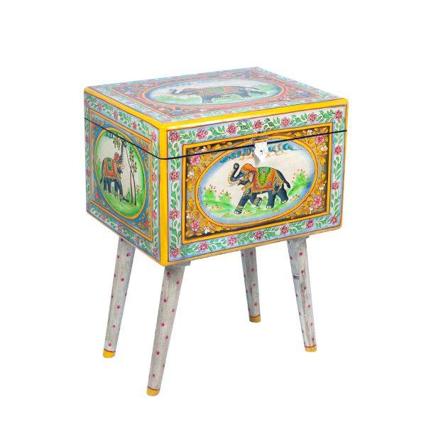 Mesita Elefante Pintado a Mano